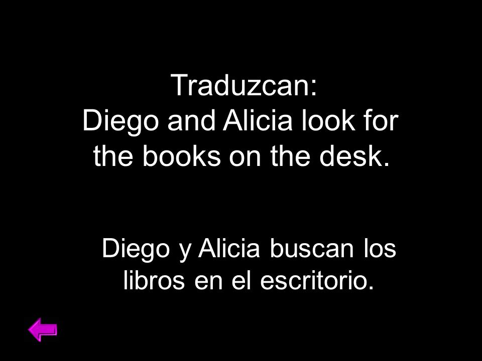 Traduzcan: Diego and Alicia look for the books on the desk.