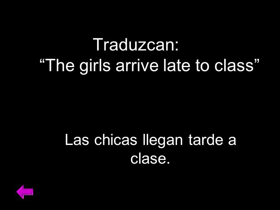 Traduzcan: You help your friend in Spanish class. Ayudas a tu amigo/a en la clase de español.