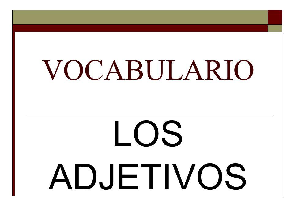 VOCABULARIO LOS ADJETIVOS