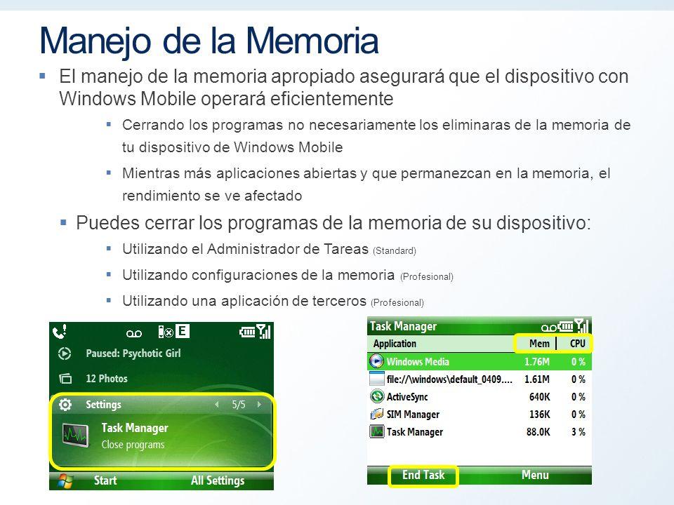 Manejo de la Memoria El manejo de la memoria apropiado asegurará que el dispositivo con Windows Mobile operará eficientemente Cerrando los programas no necesariamente los eliminaras de la memoria de tu dispositivo de Windows Mobile Mientras más aplicaciones abiertas y que permanezcan en la memoria, el rendimiento se ve afectado Puedes cerrar los programas de la memoria de su dispositivo: Utilizando el Administrador de Tareas (Standard) Utilizando configuraciones de la memoria (Profesional) Utilizando una aplicación de terceros (Profesional) Microsoft Confidential 8