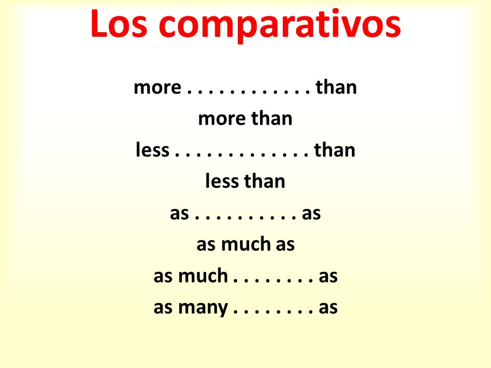 Los comparativos more............ than more than less............. than less than as.......... as as much as as much........ as as many........ as