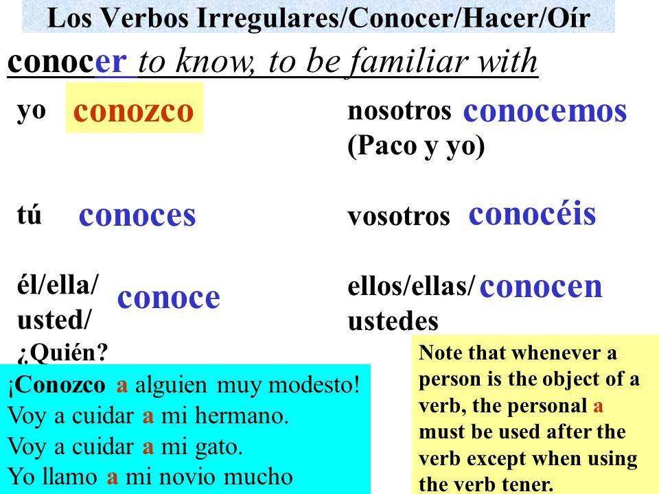 Los Verbos Irregulares/Conocer/Hacer/Oír yo tú él/ella/ usted/ ¿Quién? nosotros (Paco y yo) vosotros ellos/ellas/ ustedes ¡Conozco a alguien muy modes