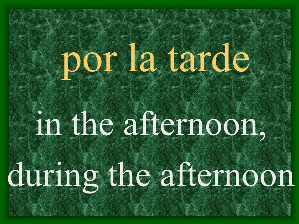por la tarde in the afternoon, during the afternoon
