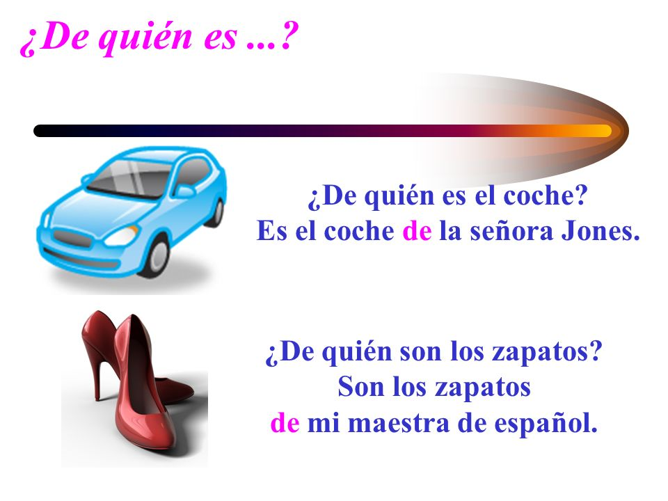 En inglés.... In English you you show possession by adding s to the noun that refers to the possessor. In Spanish, you use the preposition de to refer