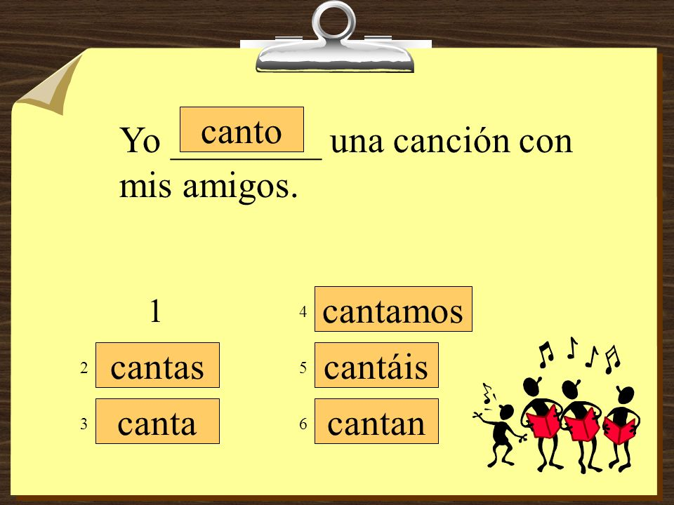 cantamos cantáis cantan canto cantas canta Mis amigos y yo __________ muy bien. 1 3 5 4 6 2