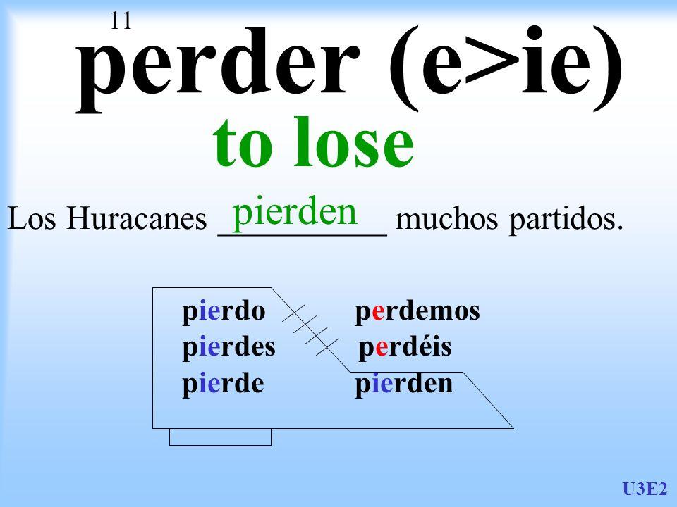 U3E2 11 perder (e>ie) to lose Los Huracanes __________ muchos partidos. pierdo perdemos pierdes perdéis pierde pierden pierden