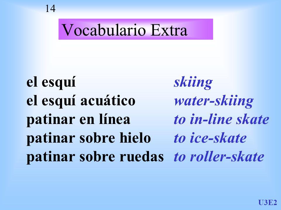 U3E2 14 Vocabulario Extra el esquí el esquí acuático patinar en línea patinar sobre hielo patinar sobre ruedas skiing water-skiing to in-line skate to