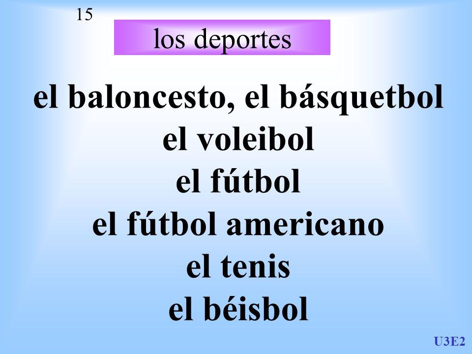U3E2 15 los deportes el baloncesto, el básquetbol el voleibol el fútbol el fútbol americano el tenis el béisbol
