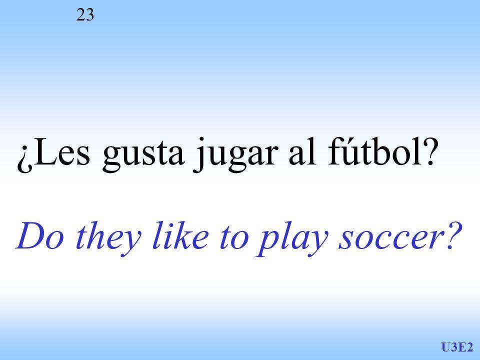 U3E2 23 Do they like to play soccer? ¿Les gusta jugar al fútbol?