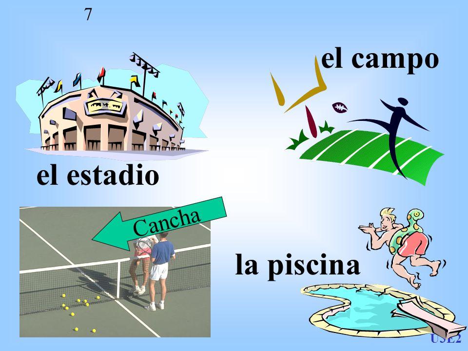 U3E2 7 el estadio el campo la piscina Cancha