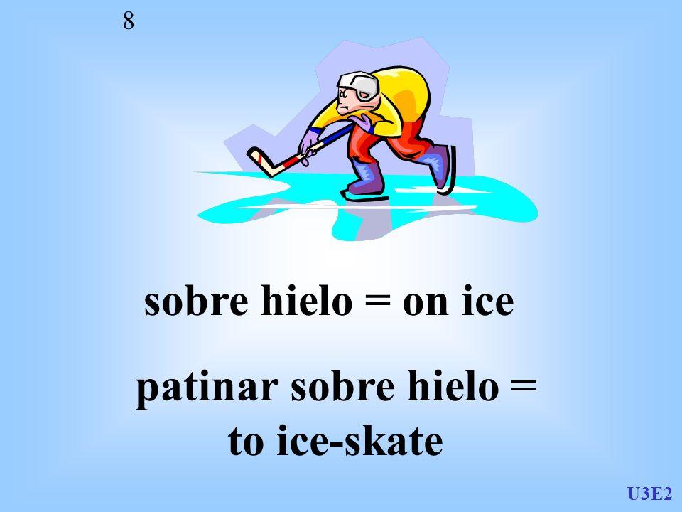 U3E2 8 sobre hielo = on ice patinar sobre hielo = to ice-skate