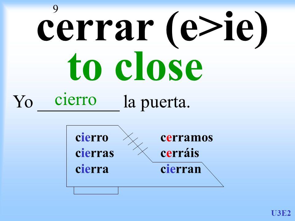 U3E2 9 cerrar (e>ie) to close Yo _________ la puerta. cierro cierro cerramos cierras cerráis cierra cierran