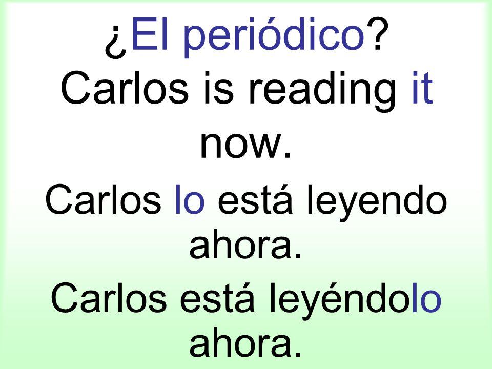 ¿El periódico? Carlos is reading it now. Carlos lo está leyendo ahora. Carlos está leyéndolo ahora.