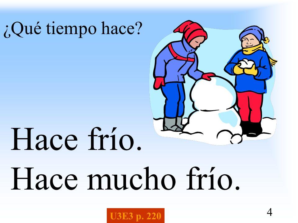 4 ¿Qué tiempo hace? Hace frío. Hace mucho frío. U3E3 p. 220