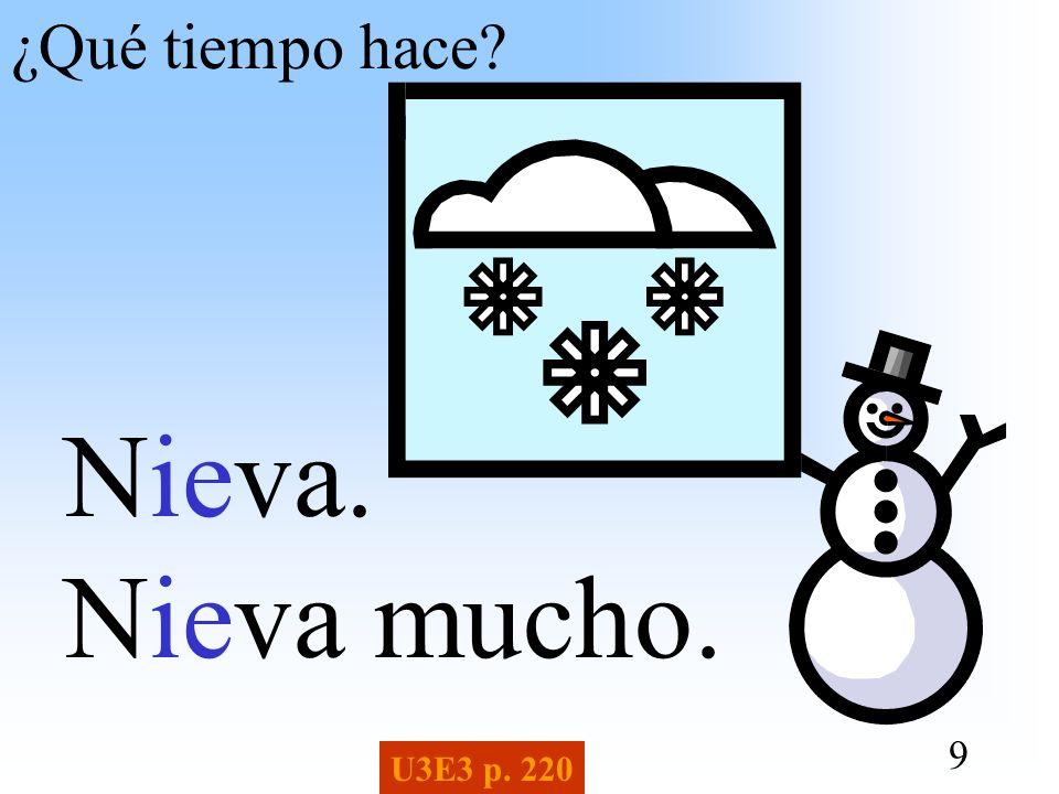 9 ¿Qué tiempo hace? Nieva. Nieva mucho. U3E3 p. 220