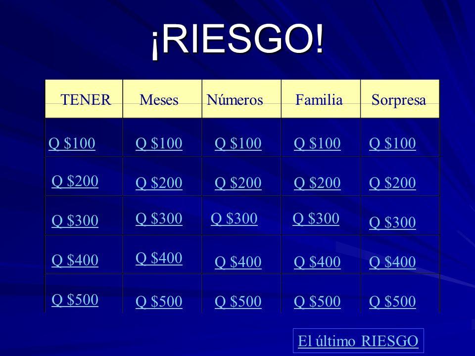 ¡RIESGO! MesesNúmerosFamilia Sorpresa Q $100 Q $200 Q $300 Q $400 Q $500 Q $100 Q $200 Q $300 Q $400 Q $500 El último RIESGO TENER