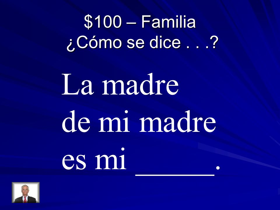 $100 – Familia ¿Cómo se dice... La madre de mi madre es mi _____.
