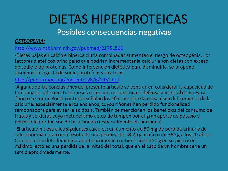 DIETAS HIPERPROTEICAS Posibles consecuencias negativas OSTEOPENIA: http://www.ncbi.nlm.nih.gov/pubmed/21751520 -Dietas bajas en calcio e hipercalciuri