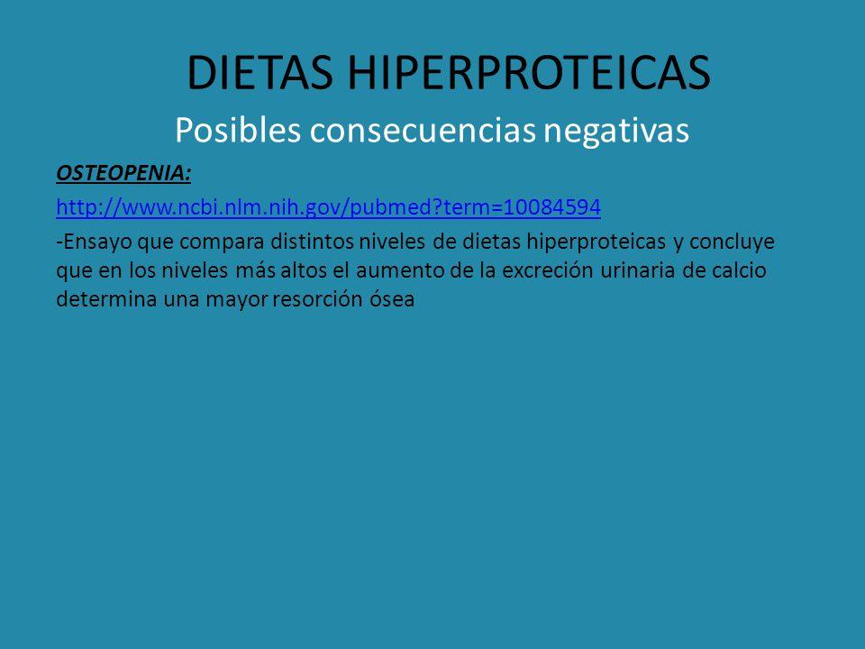DIETAS HIPERPROTEICAS Posibles consecuencias negativas OSTEOPENIA: http://www.ncbi.nlm.nih.gov/pubmed?term=10084594 -Ensayo que compara distintos nive
