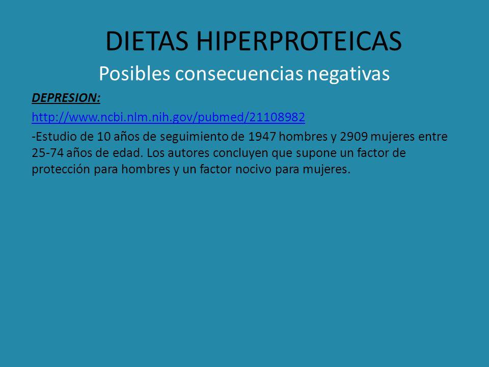 DIETAS HIPERPROTEICAS Posibles consecuencias negativas DEPRESION: http://www.ncbi.nlm.nih.gov/pubmed/21108982 -Estudio de 10 años de seguimiento de 19