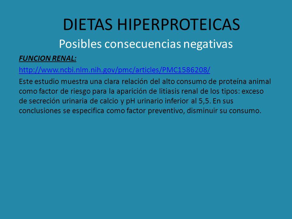 DIETAS HIPERPROTEICAS Posibles consecuencias negativas FUNCION RENAL: http://www.ncbi.nlm.nih.gov/pmc/articles/PMC1586208/ Este estudio muestra una cl
