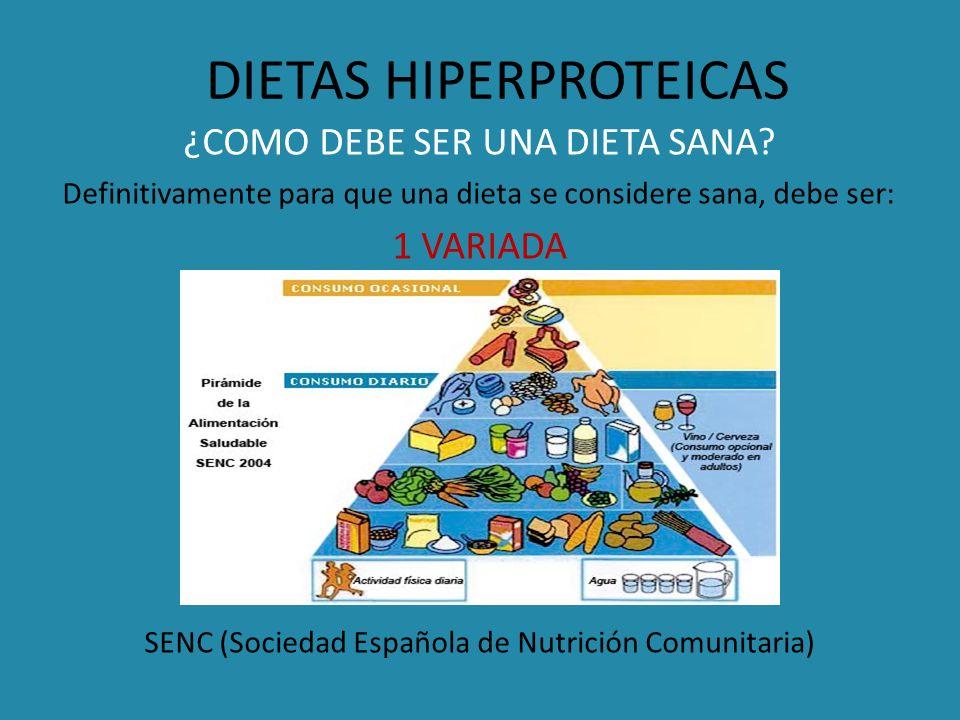 DIETAS HIPERPROTEICAS ¿COMO DEBE SER UNA DIETA SANA? Definitivamente para que una dieta se considere sana, debe ser: 1 VARIADA SENC (Sociedad Española