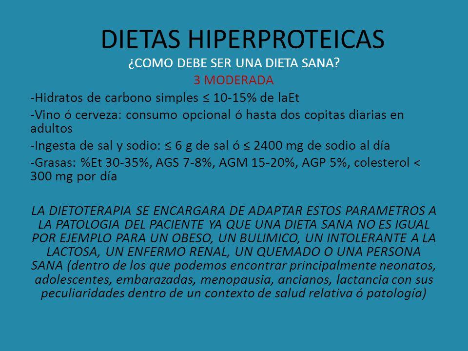 DIETAS HIPERPROTEICAS ¿COMO DEBE SER UNA DIETA SANA? 3 MODERADA -Hidratos de carbono simples 10-15% de laEt -Vino ó cerveza: consumo opcional ó hasta