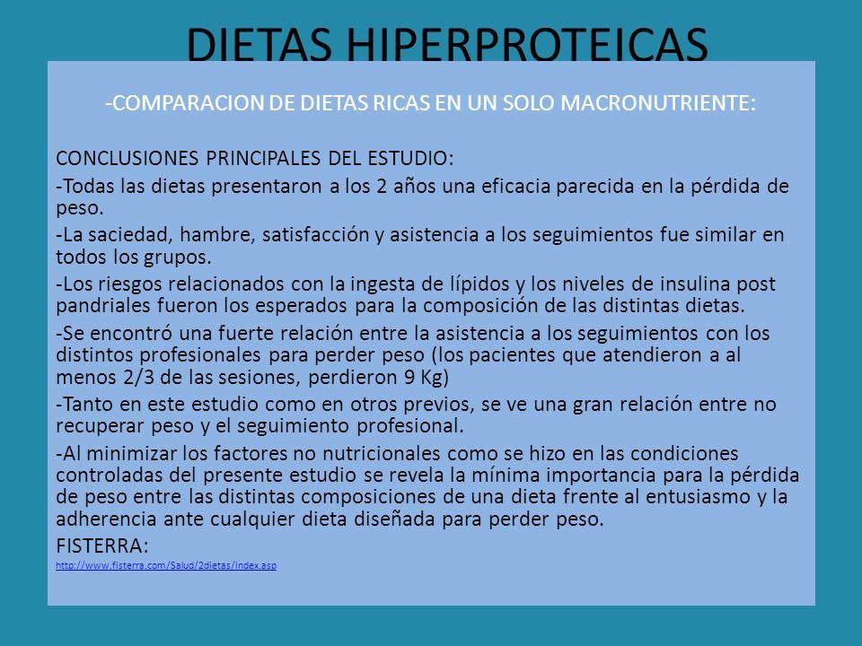 DIETAS HIPERPROTEICAS -COMPARACION DE DIETAS RICAS EN UN SOLO MACRONUTRIENTE: CONCLUSIONES PRINCIPALES DEL ESTUDIO: -Todas las dietas presentaron a lo