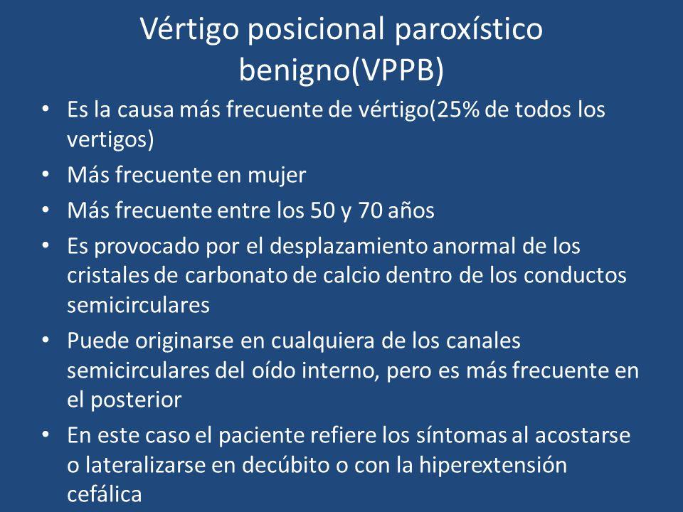 Vértigo posicional paroxístico benigno(VPPB) Es la causa más frecuente de vértigo(25% de todos los vertigos) Más frecuente en mujer Más frecuente entr