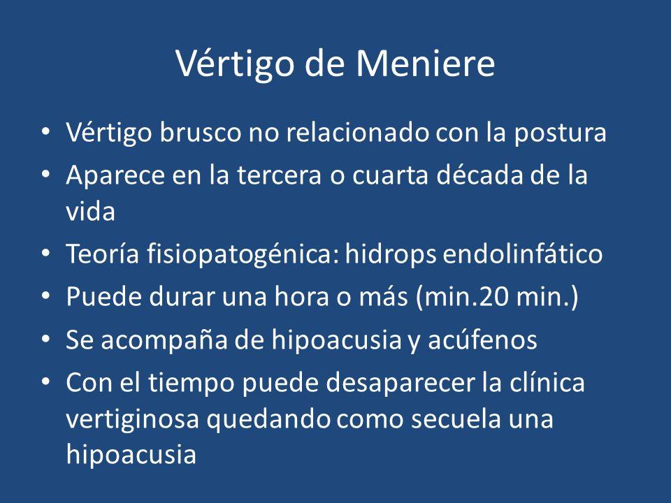 Vértigo de Meniere Vértigo brusco no relacionado con la postura Aparece en la tercera o cuarta década de la vida Teoría fisiopatogénica: hidrops endol