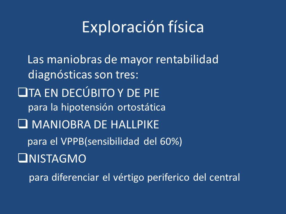 Exploración física Las maniobras de mayor rentabilidad diagnósticas son tres: TA EN DECÚBITO Y DE PIE para la hipotensión ortostática MANIOBRA DE HALL