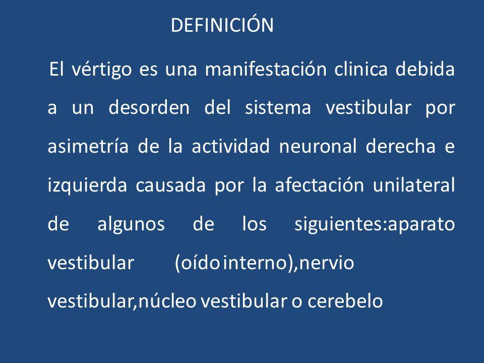DEFINICIÓN El vértigo es una manifestación clinica debida a un desorden del sistema vestibular por asimetría de la actividad neuronal derecha e izquie