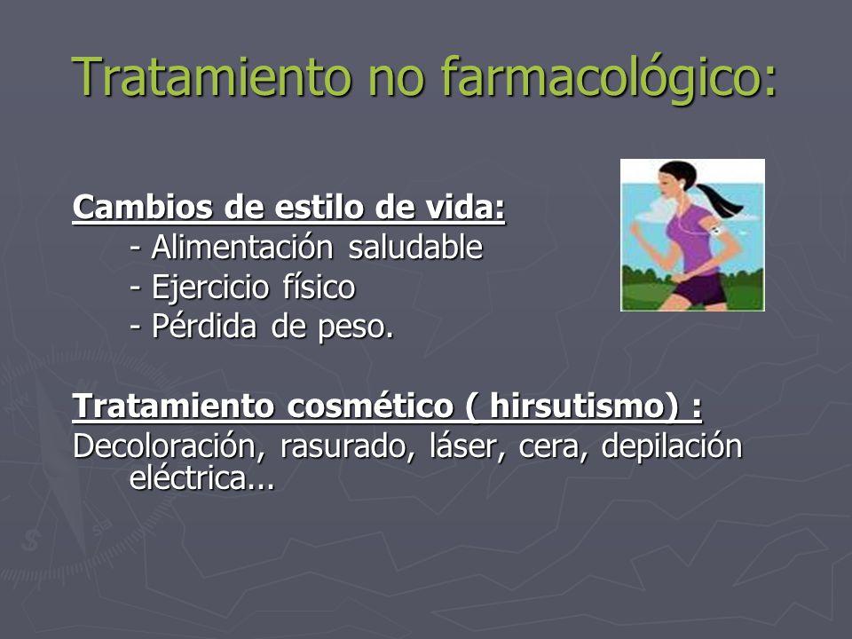 Tratamiento no farmacológico: Cambios de estilo de vida: - Alimentación saludable - Ejercicio físico - Pérdida de peso. Tratamiento cosmético ( hirsut