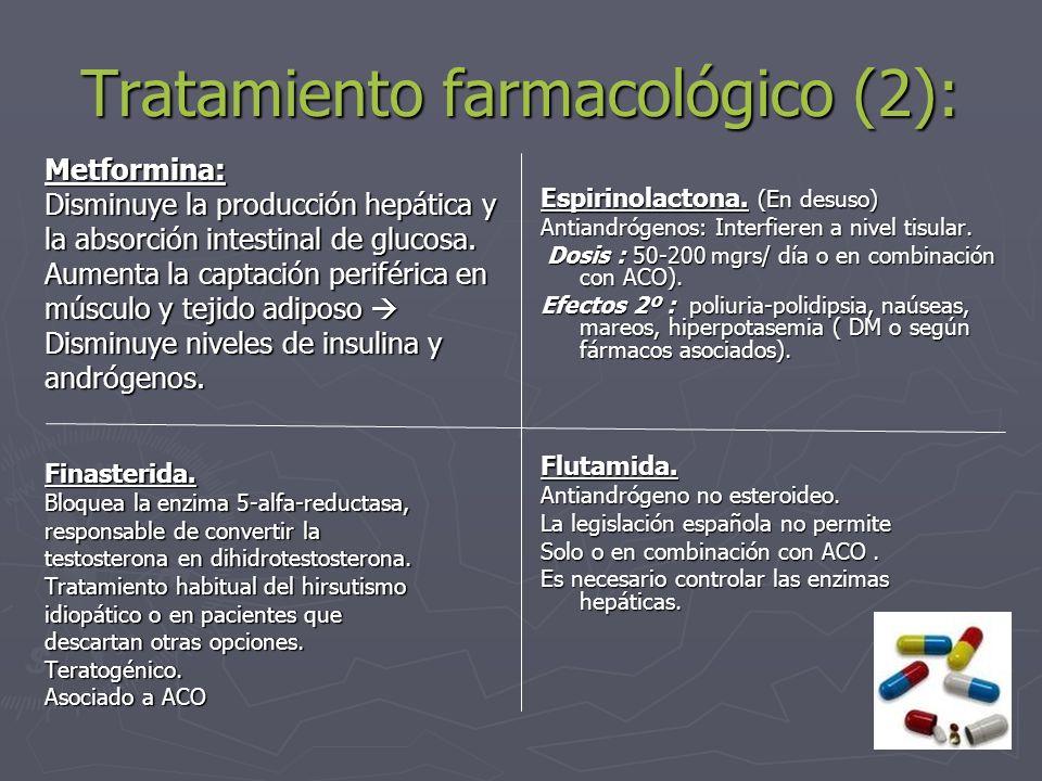 Tratamiento farmacológico (2): Metformina: Disminuye la producción hepática y la absorción intestinal de glucosa. Aumenta la captación periférica en m