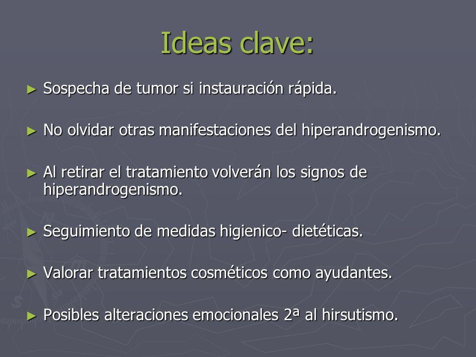 Ideas clave: Sospecha de tumor si instauración rápida. Sospecha de tumor si instauración rápida. No olvidar otras manifestaciones del hiperandrogenism