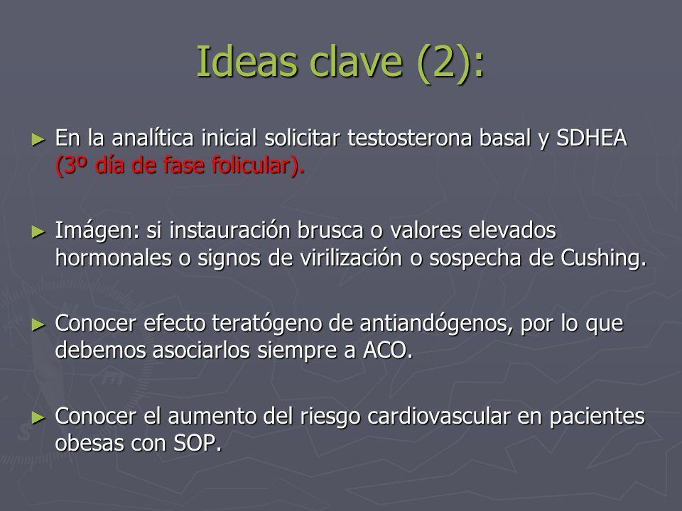 Ideas clave (2): En la analítica inicial solicitar testosterona basal y SDHEA (3º día de fase folicular). En la analítica inicial solicitar testostero