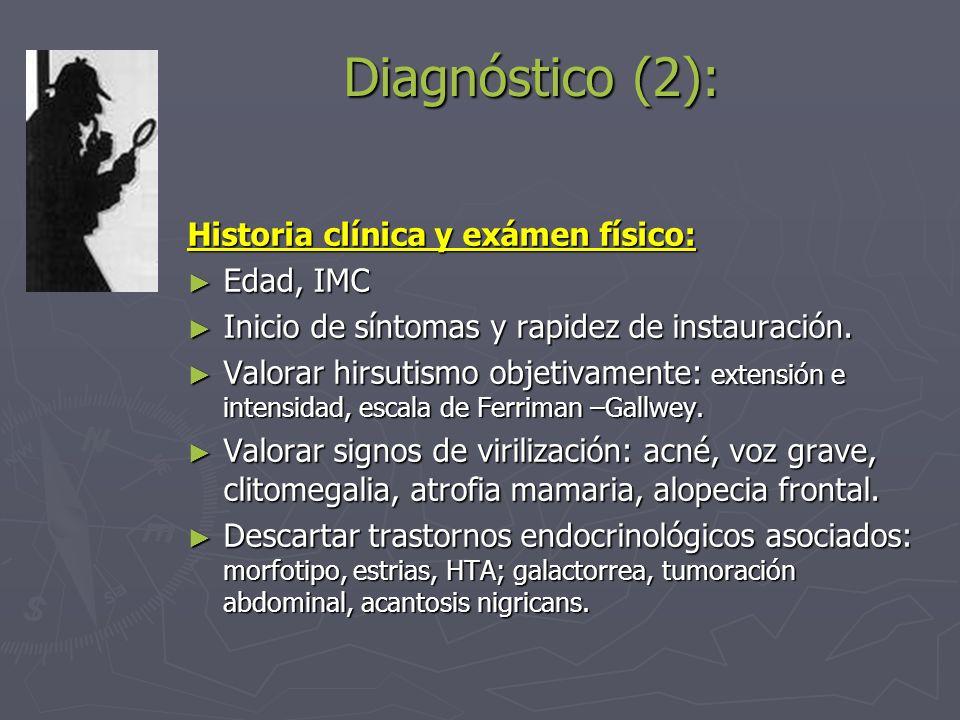 Diagnóstico (2): Historia clínica y exámen físico: Edad, IMC Edad, IMC Inicio de síntomas y rapidez de instauración. Inicio de síntomas y rapidez de i