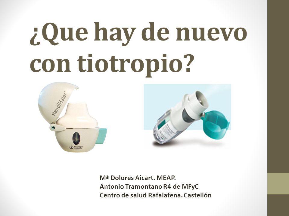 ¿Que hay de nuevo con tiotropio? Mª Dolores Aicart. MEAP. Antonio Tramontano R4 de MFyC Centro de salud Rafalafena. Castellón