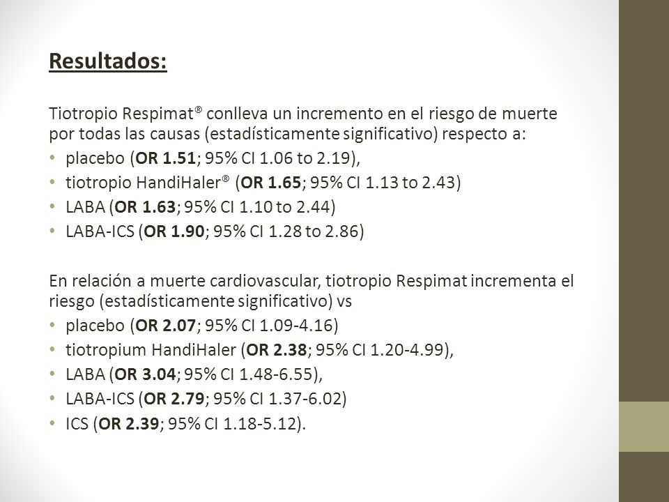 Resultados: Tiotropio Respimat® conlleva un incremento en el riesgo de muerte por todas las causas (estadísticamente significativo) respecto a: placeb