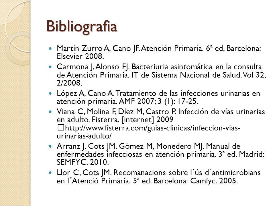 Bibliografia Martín Zurro A, Cano JF. Atención Primaria. 6ª ed, Barcelona: Elsevier 2008. Carmona J, Alonso FJ. Bacteriuria asintomática en la consult