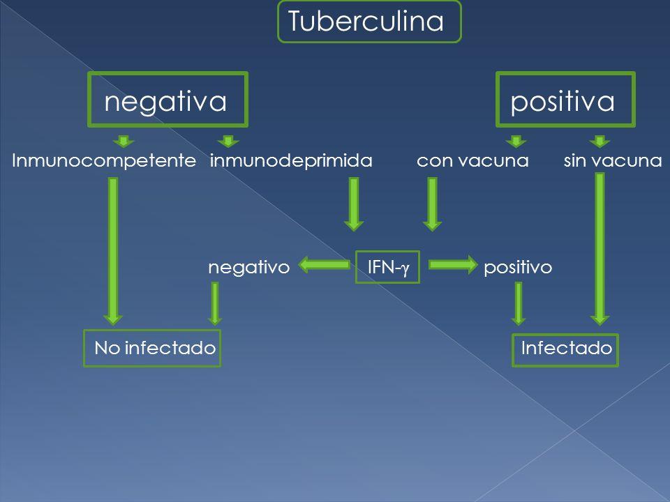 Tuberculina negativa positiva Inmunocompetente inmunodeprimida con vacuna sin vacuna negativo IFN- γ positivo No infectado Infectado
