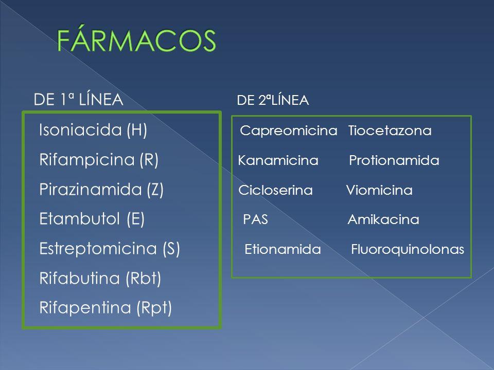 DE 1ª LÍNEA DE 2ªLÍNEA Isoniacida (H) Capreomicina Tiocetazona Rifampicina (R) Kanamicina Protionamida Pirazinamida (Z) Cicloserina Viomicina Etambuto