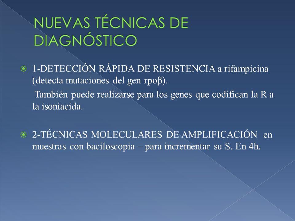 1-DETECCIÓN RÁPIDA DE RESISTENCIA a rifampicina (detecta mutaciones del gen rpoβ). También puede realizarse para los genes que codifican la R a la iso