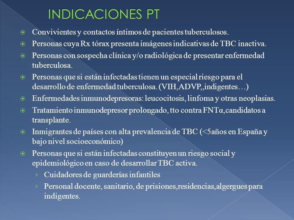 Convivientes y contactos íntimos de pacientes tuberculosos. Personas cuya Rx tórax presenta imágenes indicativas de TBC inactiva. Personas con sospech