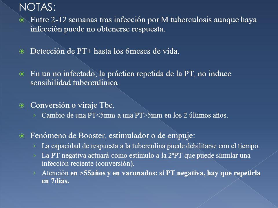 NOTAS: Entre 2-12 semanas tras infección por M.tuberculosis aunque haya infección puede no obtenerse respuesta. Detección de PT+ hasta los 6meses de v