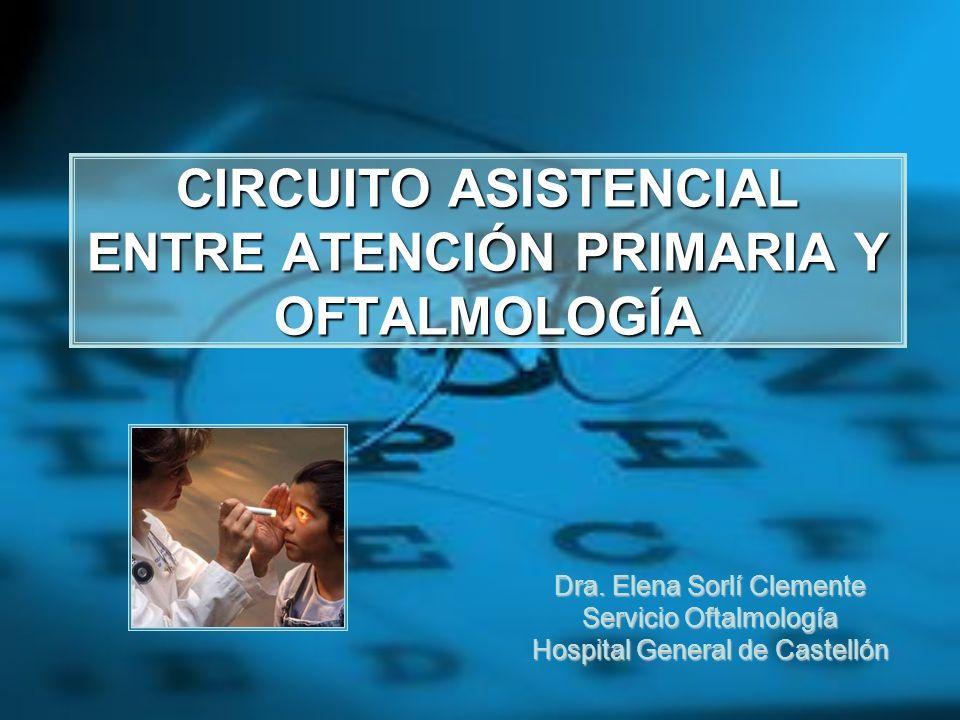 CIRCUITO ASISTENCIAL ENTRE ATENCIÓN PRIMARIA Y OFTALMOLOGÍA Dra. Elena Sorlí Clemente Servicio Oftalmología Hospital General de Castellón