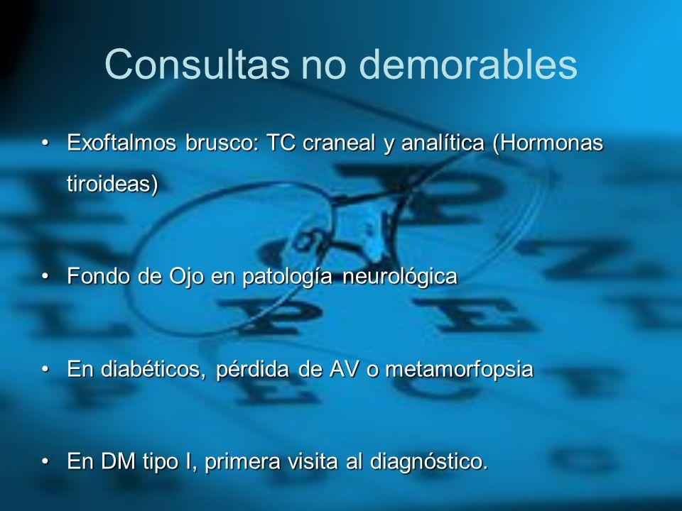 Consultas no demorables Exoftalmos brusco: TC craneal y analítica (Hormonas tiroideas)Exoftalmos brusco: TC craneal y analítica (Hormonas tiroideas) F