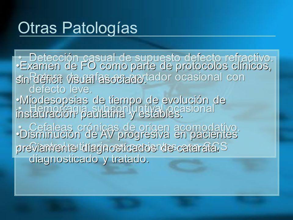 Otras Patologías Detección casual de supuesto defecto refractivo.Detección casual de supuesto defecto refractivo. Rotura de gafas en portador ocasiona