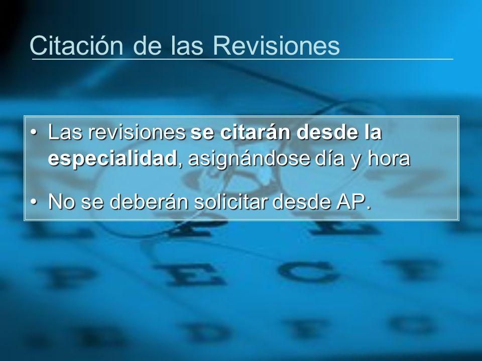 Citación de las Revisiones Las revisiones se citarán desde la especialidad, asignándose día y horaLas revisiones se citarán desde la especialidad, asi