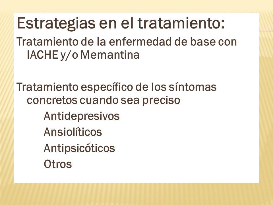 Estrategias en el tratamiento: Tratamiento de la enfermedad de base con IACHE y/o Memantina Tratamiento específico de los síntomas concretos cuando se